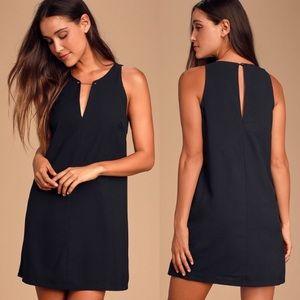 Lulus Near or Bar Black Shift Dress Medium M
